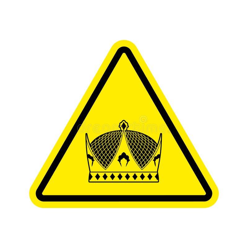 Rei de advertência coroa real do triângulo amarelo Attentio do sinal de estrada ilustração royalty free