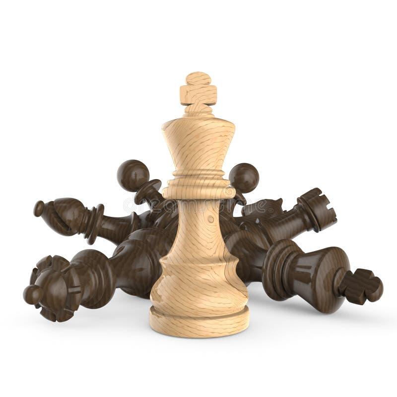 Rei de madeira branco que está sobre partes de xadrez pretas de madeira caídas ilustração stock