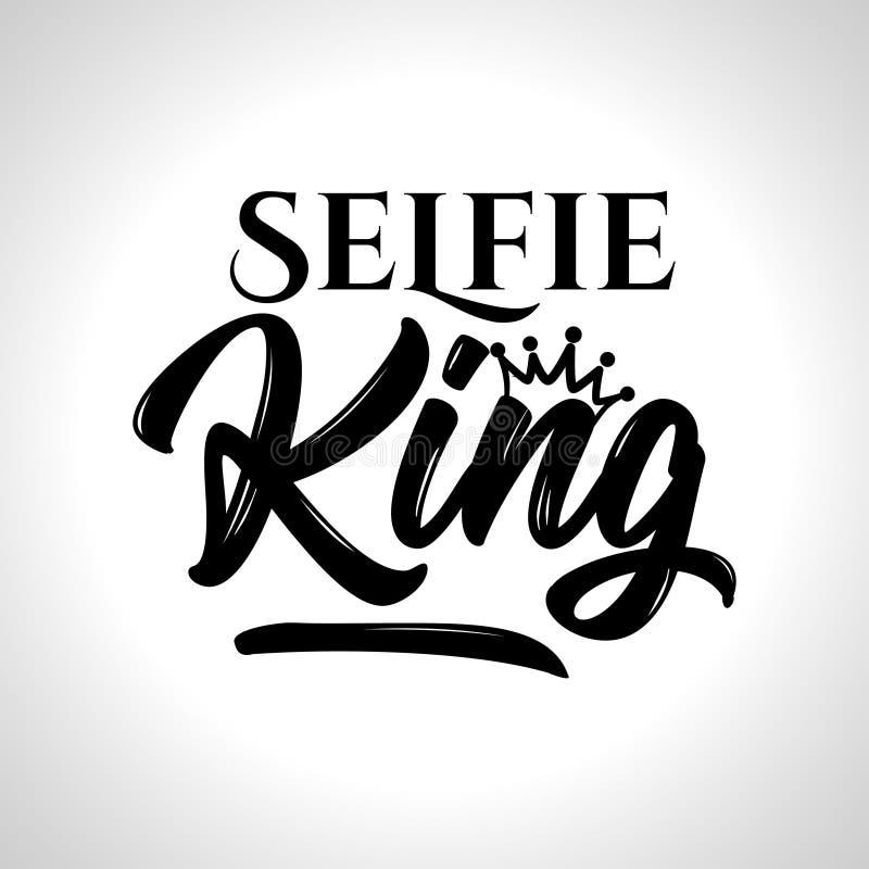 Rei de Selfie - cartaz tirado mão da tipografia ilustração royalty free