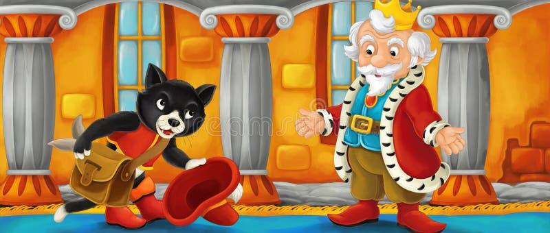 Rei de visita do gato dos desenhos animados em seu castelo ilustração royalty free