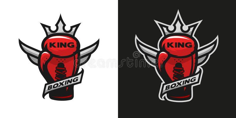 Rei do encaixotamento Logotipo da luva de encaixotamento ilustração royalty free