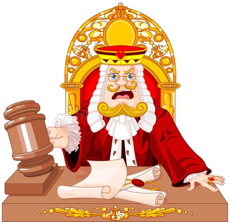 Rei do juiz dos corações com martelo ilustração stock