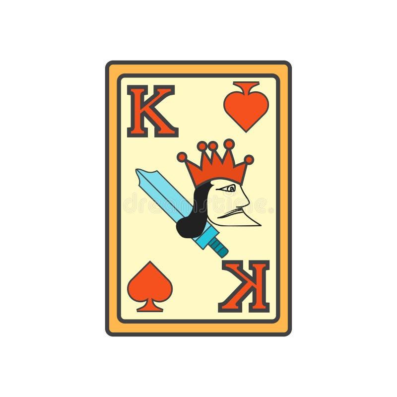 Rei do sinal e do símbolo do vetor do ícone das pás isolado no fundo branco, rei do conceito do logotipo das pás ilustração royalty free