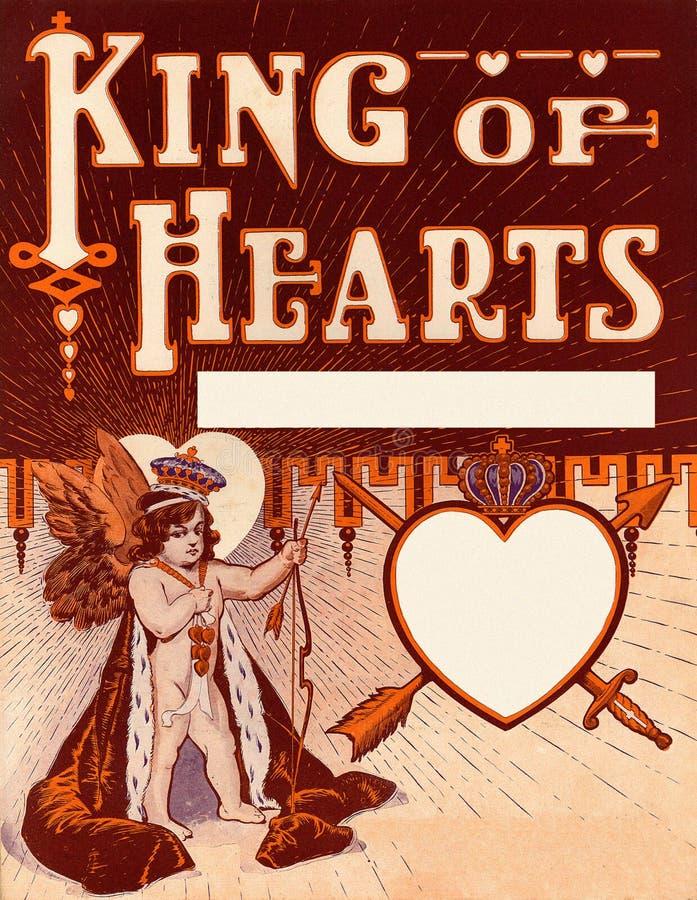 Rei do Valentim do vintage do fundo dos corações ilustração stock