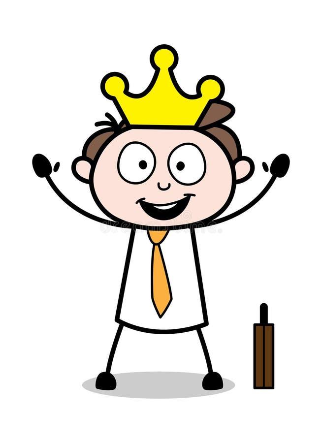 Rei dos empregados - ilustração de Employee Cartoon Vetora do homem de negócios do escritório ilustração do vetor