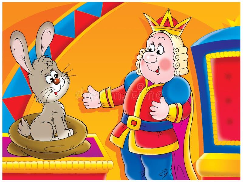 Rei e coelho ilustração do vetor