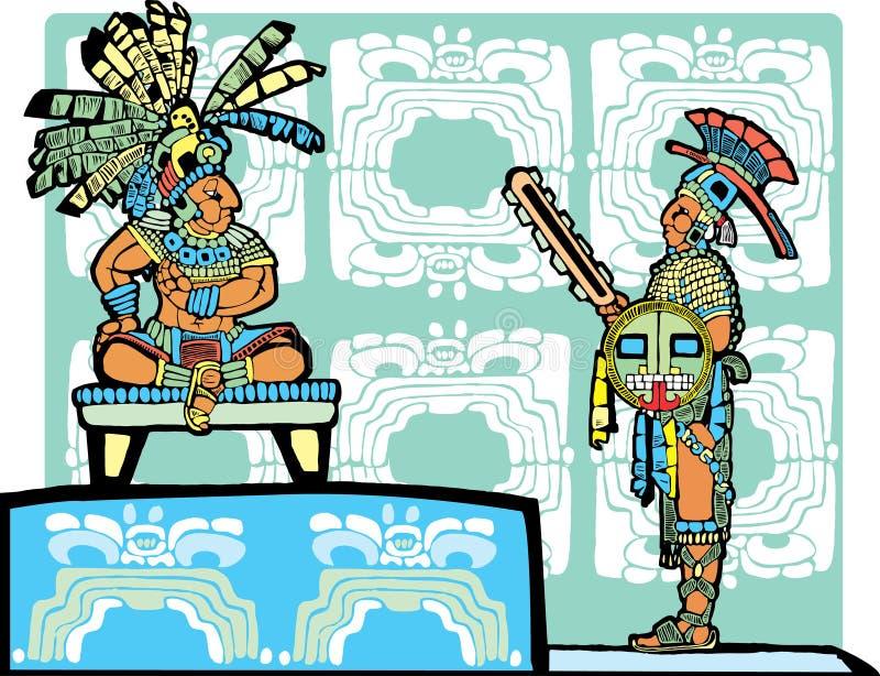 Rei e guerreiro maias ilustração do vetor