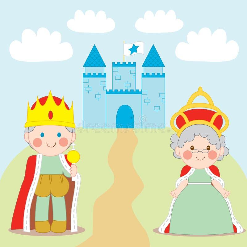 Rei e rainha ilustração royalty free