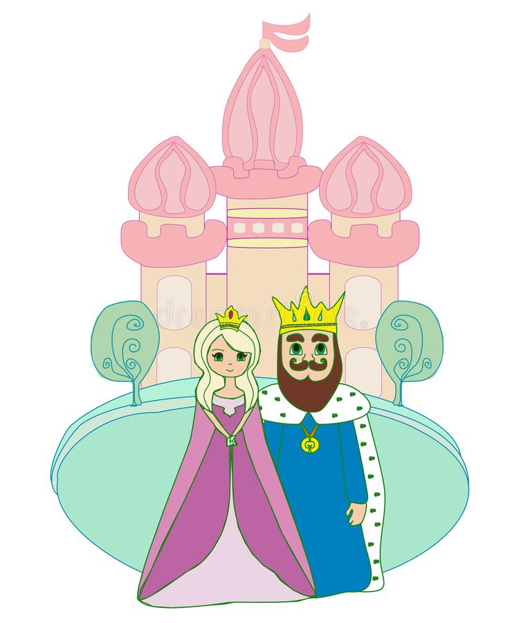 Rei e rainha na frente do castelo ilustração do vetor