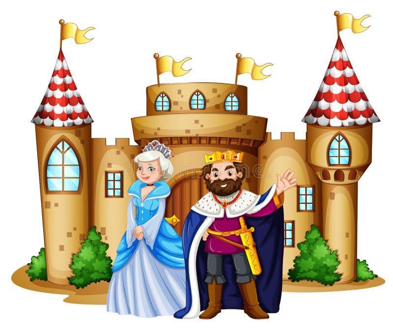 Rei e rainha no castelo ilustração royalty free