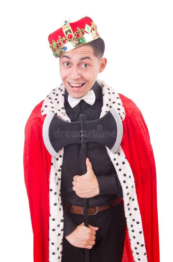 Rei engraçado com machado imagem de stock