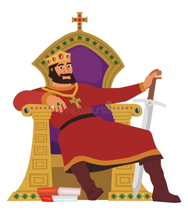 rei feliz no branco ilustração do vetor