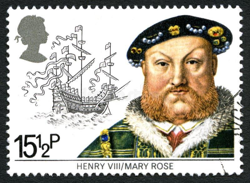Rei Hnery VIII e o selo postal de Mary Rose Reino Unido fotografia de stock