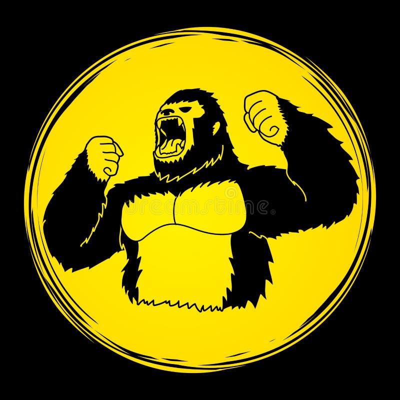 Rei irritado Kong, gorila grande ilustração stock