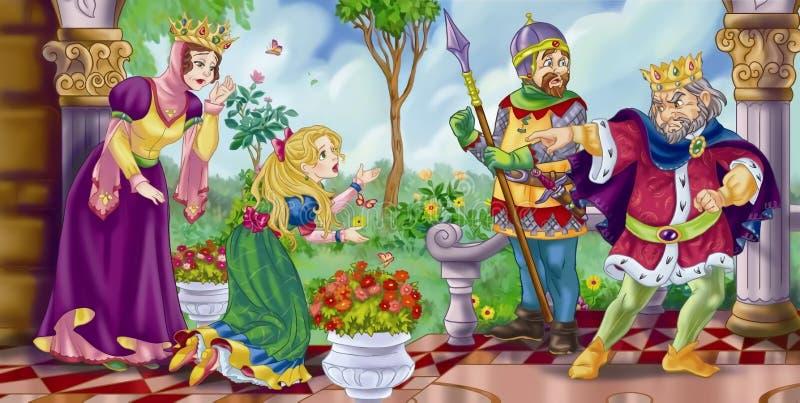 Rei irritado que envia afastado sua filha ilustração do vetor