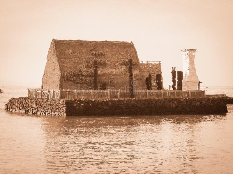 Rei Kamehameha Home de Kaiula Kona Havaí e praia do Oceano Pacífico fotos de stock