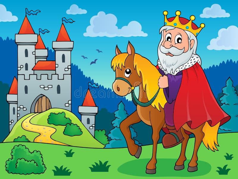 Rei na imagem 3 do tema do cavalo ilustração do vetor