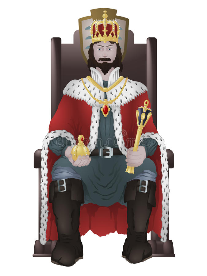 Rei no trono ilustração royalty free