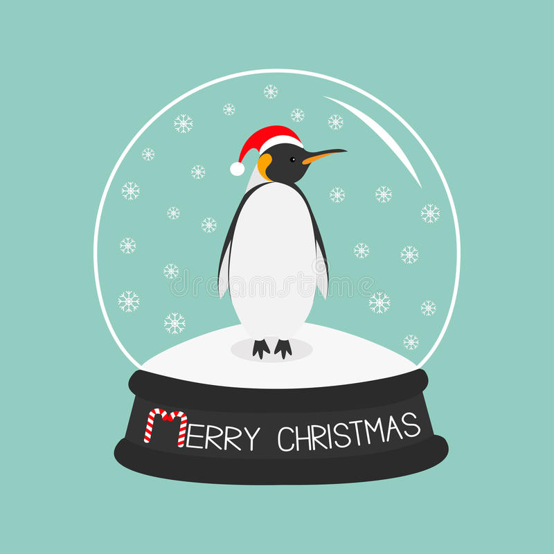 Rei Penguin Emperor no chapéu vermelho de Santa ilustração stock