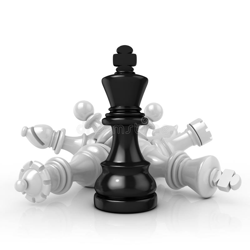 Rei preto que está sobre partes de xadrez brancas caídas ilustração do vetor
