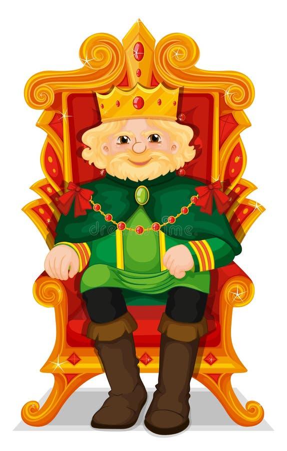 Rei que senta-se no trono ilustração royalty free
