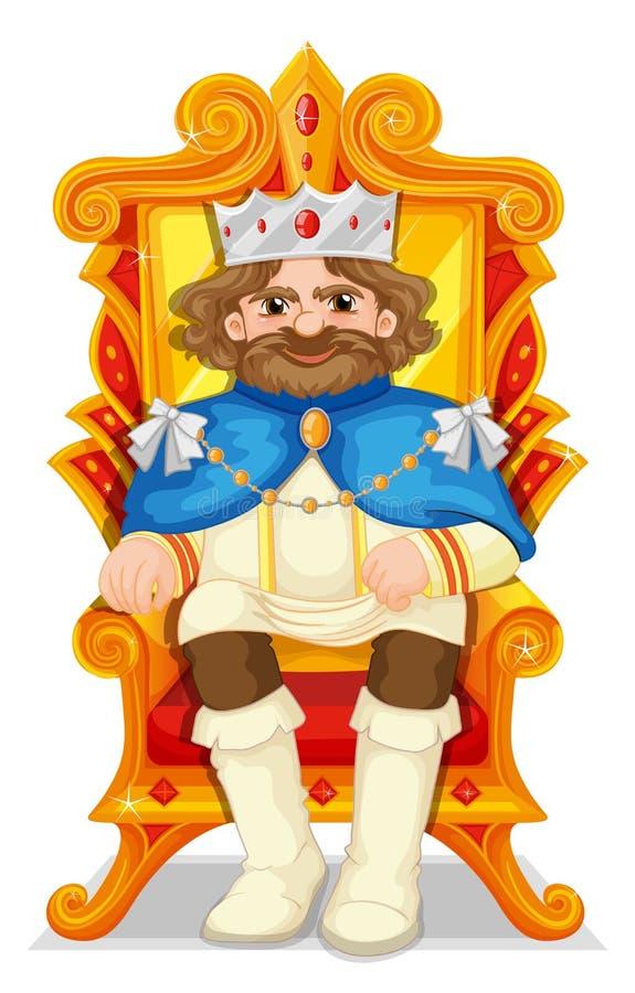 Rei que senta-se no trono ilustração do vetor