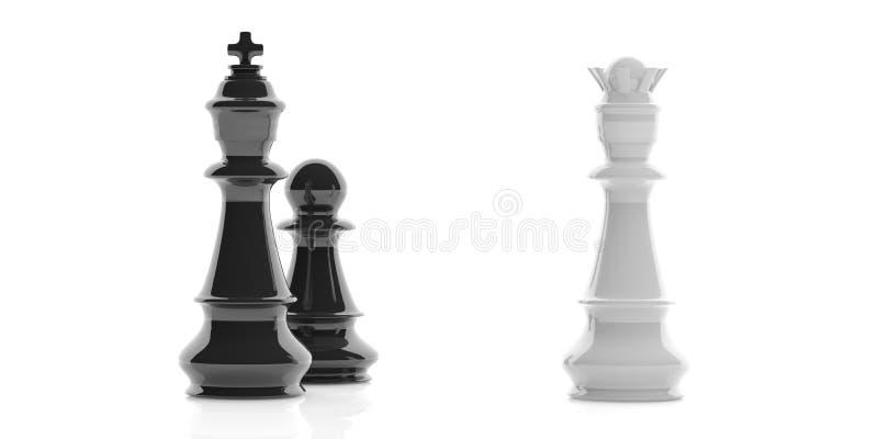 rei, rainha e penhor da xadrez da rendição 3d no fundo branco ilustração do vetor