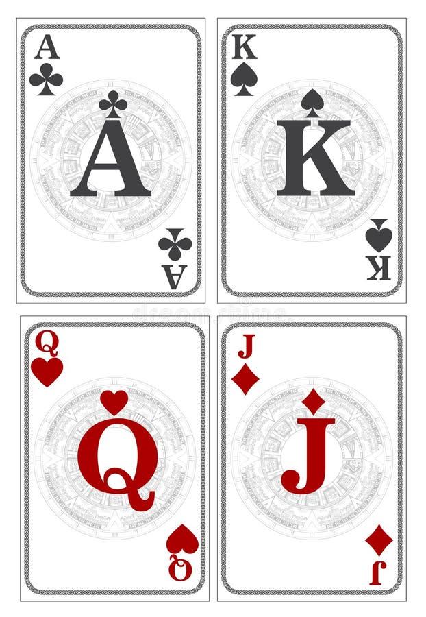 Rei, rainha, Jack, Ace Cartões de jogo pretos e vermelhos ilustração stock