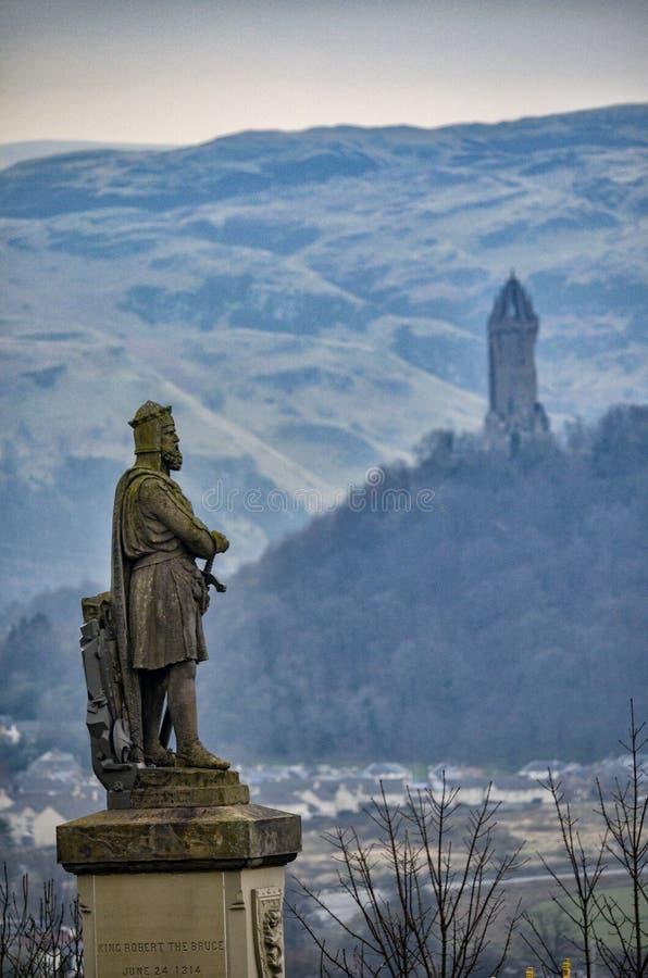 Rei Robert o Bruce e o William Wallace Tower foto de stock royalty free