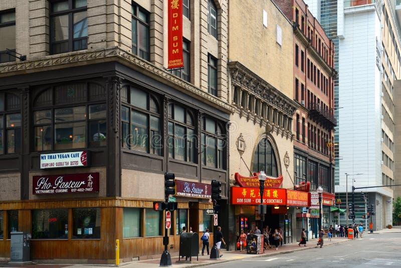 Reich-Garten-Restaurant in historischem Chinatown, Boston stockfotos