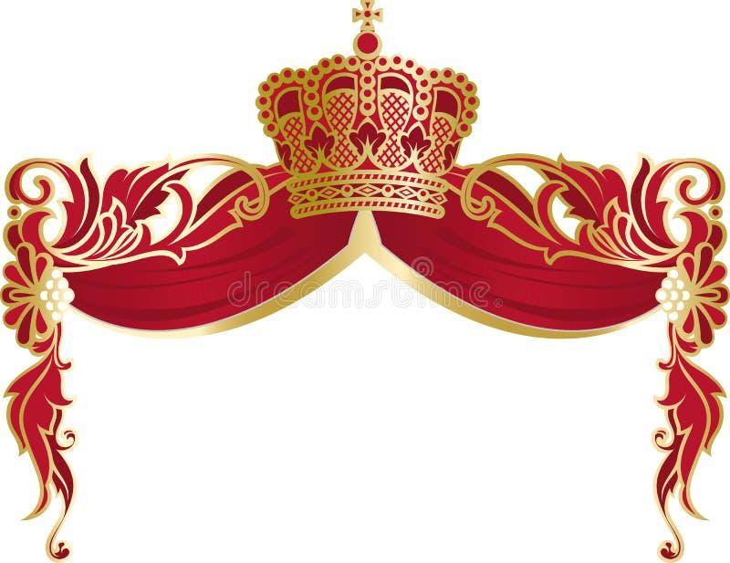 Reich Verzierter Rahmen Mit Krone Und Umhang Vektor Abbildung ...