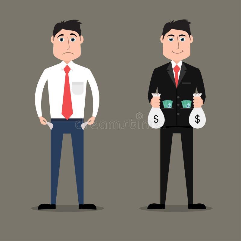 Reiche gegen armen Geschäftsmann stock abbildung