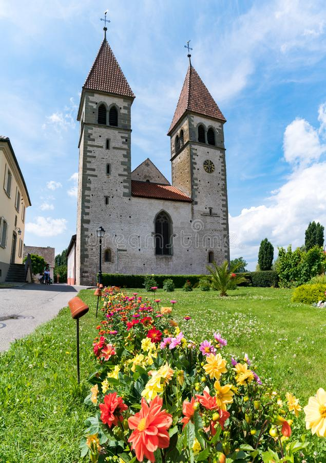 View of the church of St. Peter and Paul on Reichenau island on Lake Constance royalty free stock images