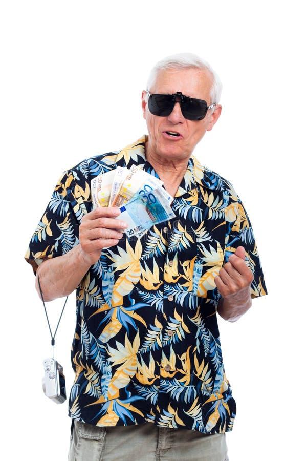 Reicher älterer Tourist lizenzfreies stockfoto