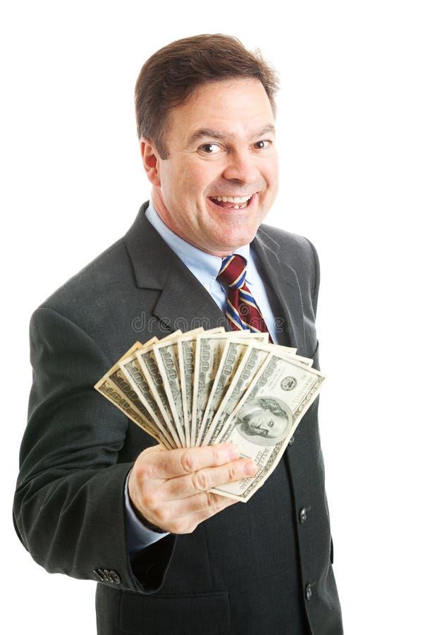 Reicher erfolgreicher Geschäftsmann - Bargeld-Geld lizenzfreies stockfoto
