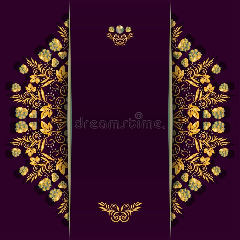 Reicher Hintergrund mit goldenem Blumen- und Beerenmuster und -teiler Schablone für Menü, Grußkarte, Einladung oder Abdeckung stock abbildung