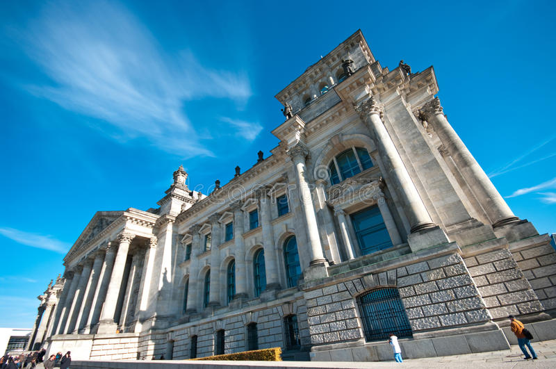 Reichstag, Berlin. Famous Berlin Reichstag building facade, wide angle view royalty free stock photo