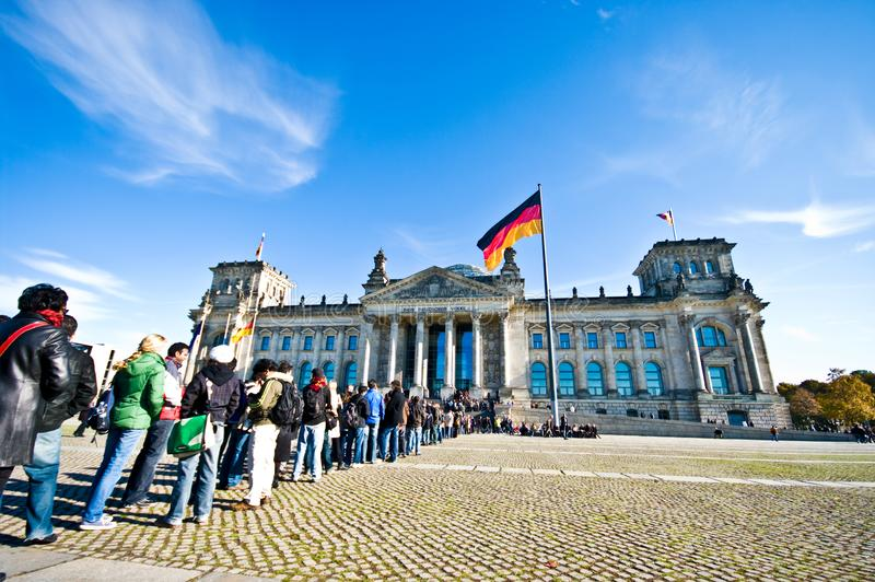 Reichstag Berlin - people queuing at the entrance royalty free stock image