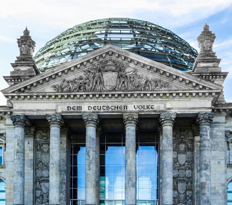 Reichstag in Berlin. Reichstag houses of parliament in Berlin, Germany - Dem Deutschen Volke means To The German People stock photos