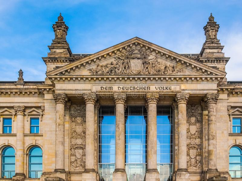 Reichstag in Berlin. Reichstag houses of parliament in Berlin, Germany - Dem Deutschen Volke means To The German People stock photography