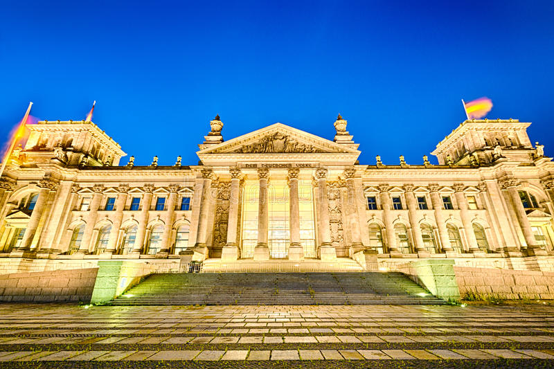 The Reichstag building in Berlin at night royalty free stock image
