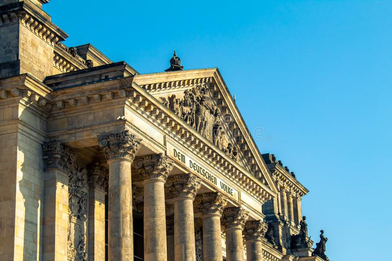 Reichstag building, seat of the German Parliament in Berlin, Germany. Reichstag building, seat of the German Parliament Deutscher Bundestag in Berlin, Germany royalty free stock photography