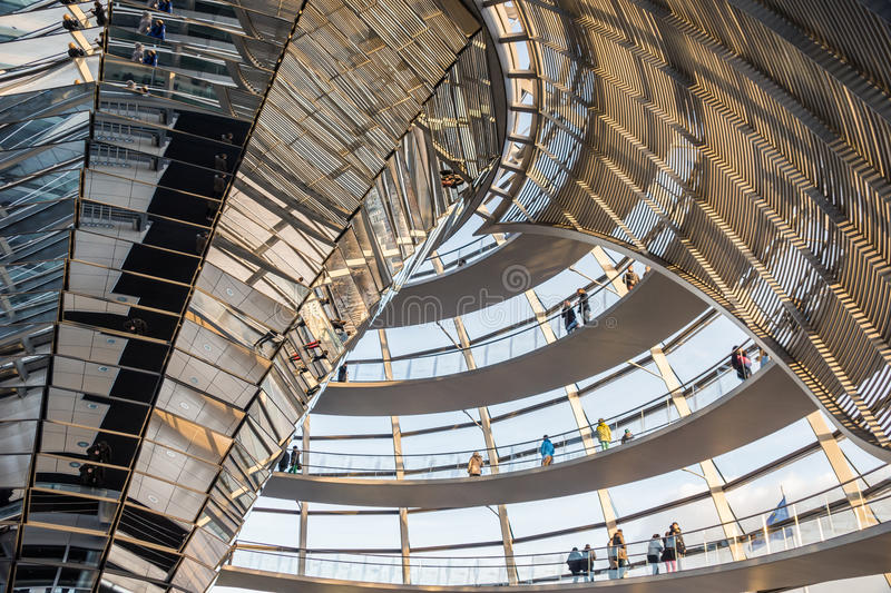 Reichstag glass dome of the Parliament in Berlin (Bundestag) royalty free stock images