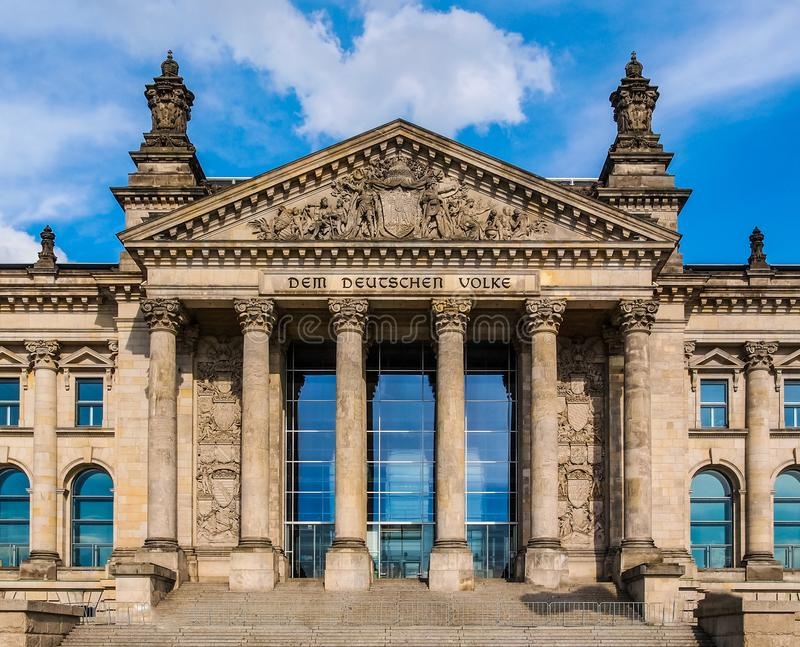 Reichstag in Berlin. Reichstag houses of parliament in Berlin, Germany - Dem Deutschen Volke means To The German People stock images