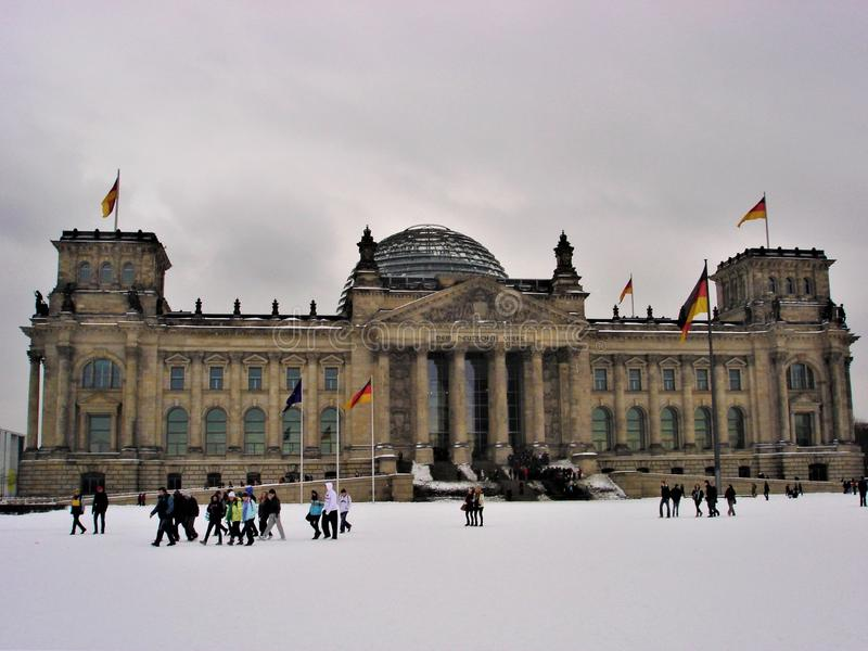 Reichstag Palace in Berlin. Winter, snow and Germany stock photos