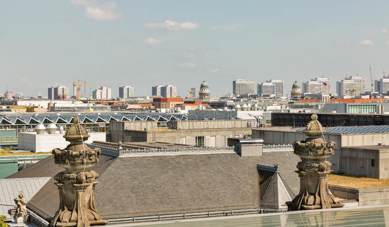 Berlin cityscape from Reichstag roof, Germany royalty free stock photos