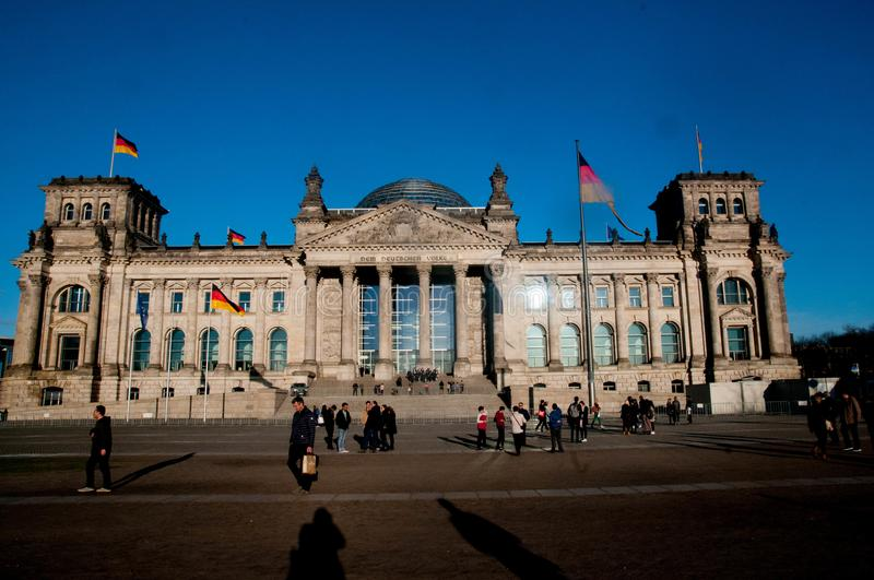 Reichstag, Berlin, Germany. The Reichstag is the seat of Berlin`s parliament. It was extensibvely damaged in a fire in 1931 in what is now beleived to be a false stock photography