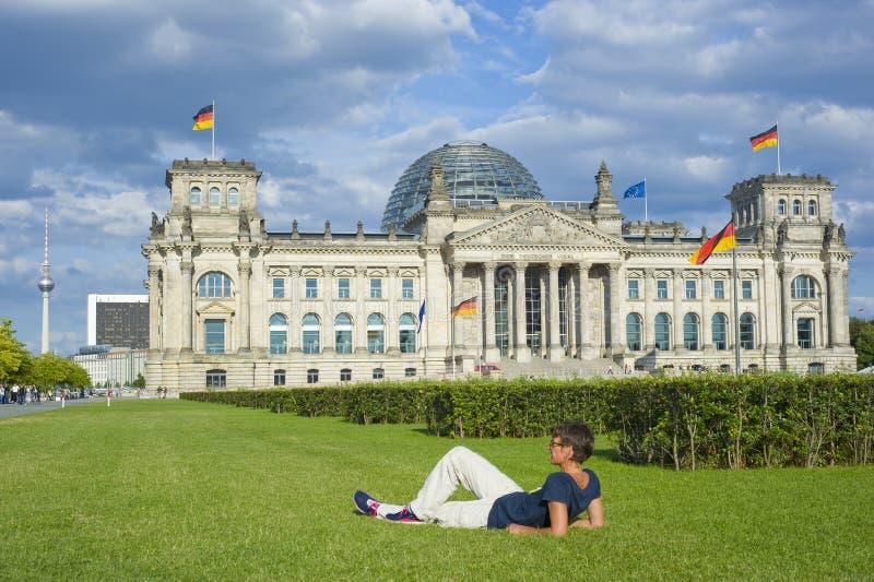 Reichstag tedesco a Berlino fotografia stock libera da diritti