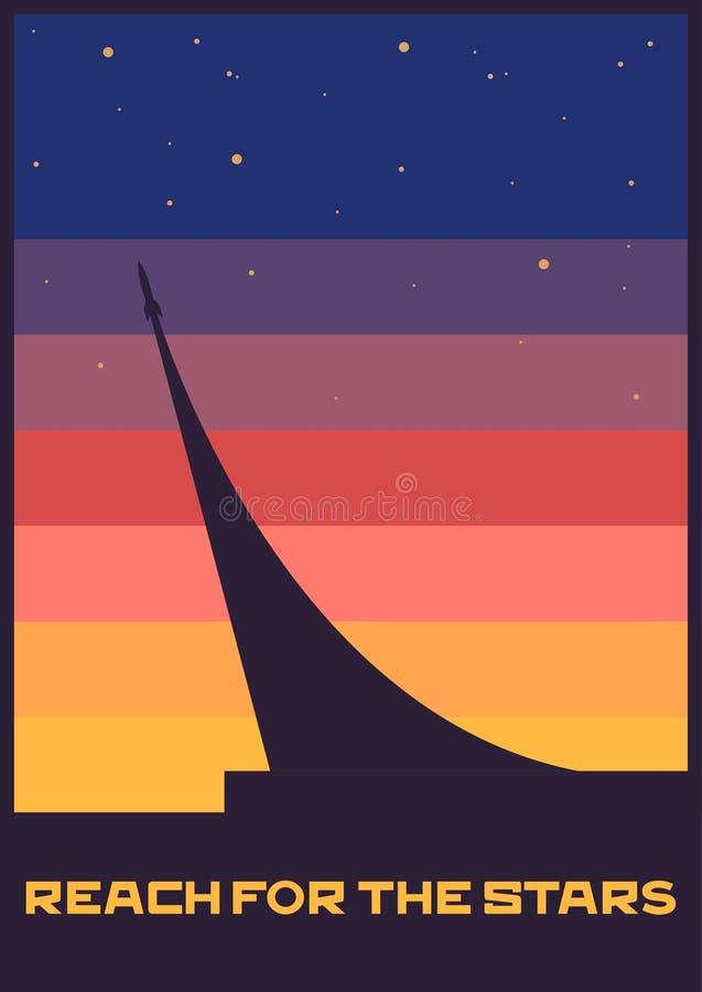 Reichweite für das Stern-Raum-Plakat vektor abbildung