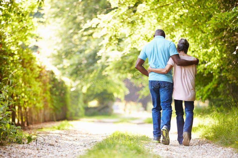Reife Afroamerikaner-Paare, die in Landschaft gehen stockbilder